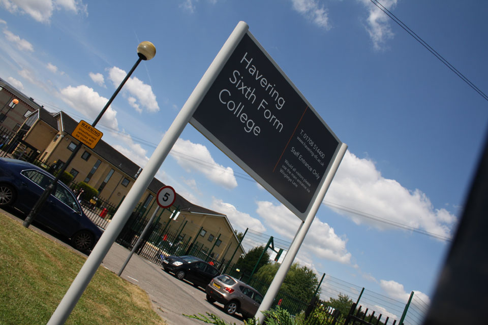 Havering Sixth Form College Entrance and Building Identity