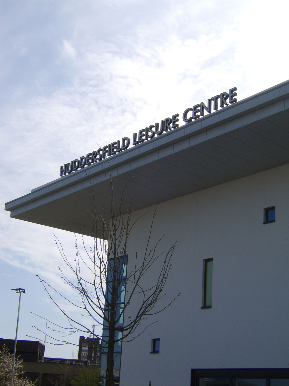 Huddersfield Leisure Centre Entrance and Building signage