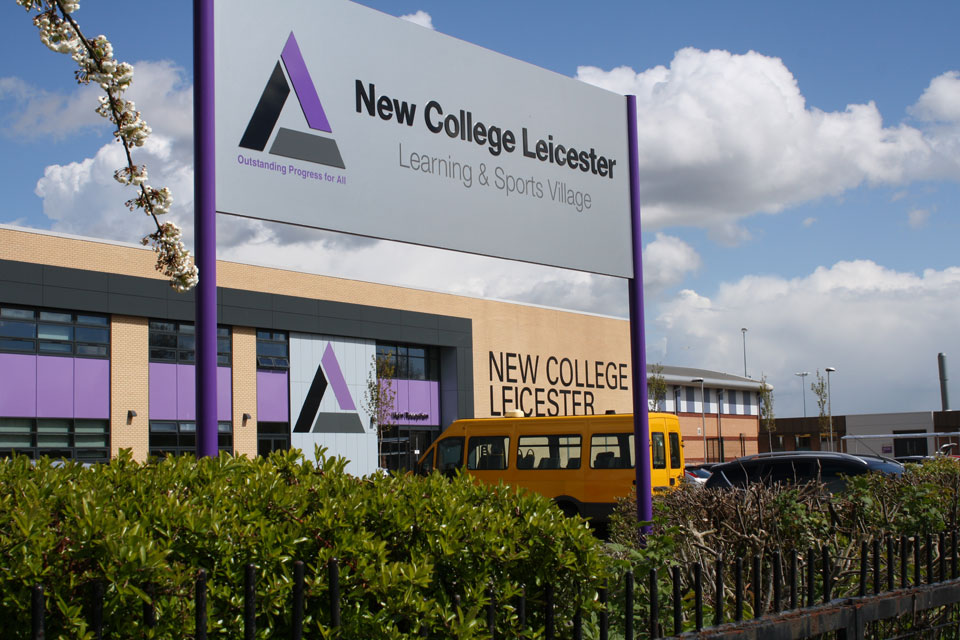 New College Leicester Entrance and Building Identity