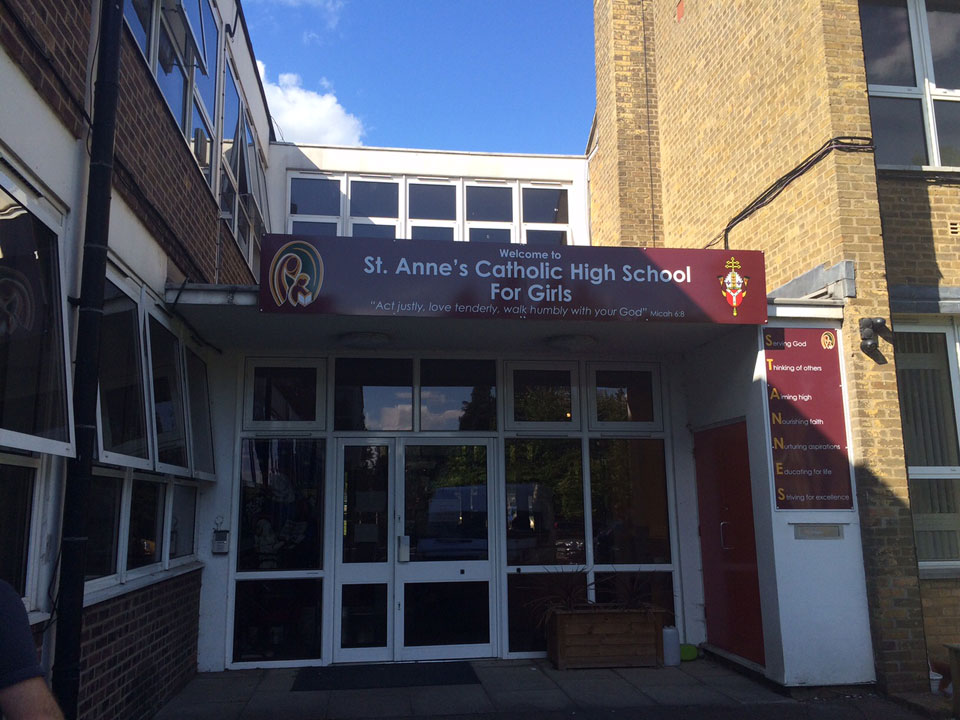 St Anne's Catholic High School Entrance and Building Identity