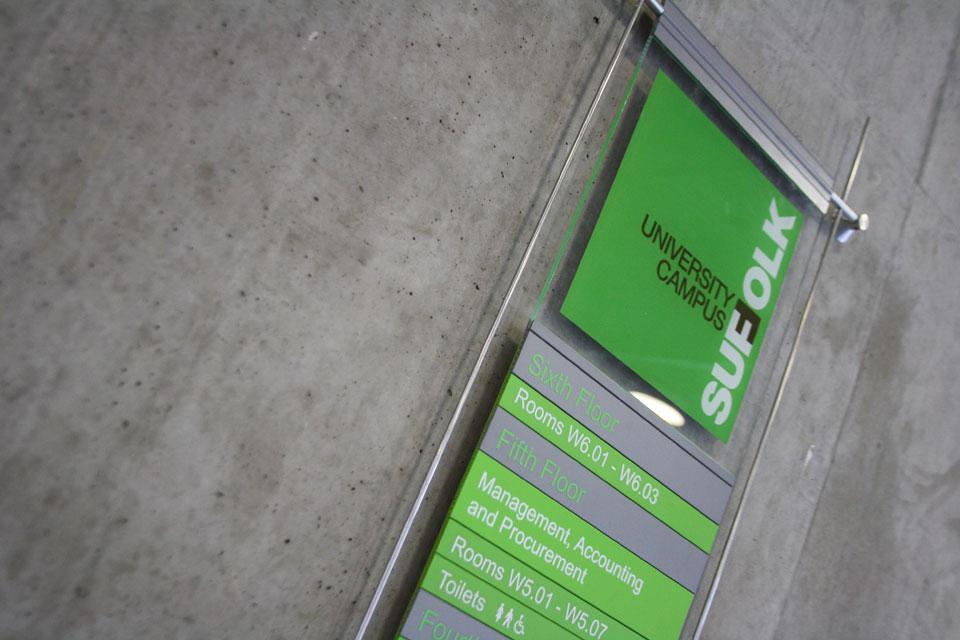 University of Suffolk - Internal Signage