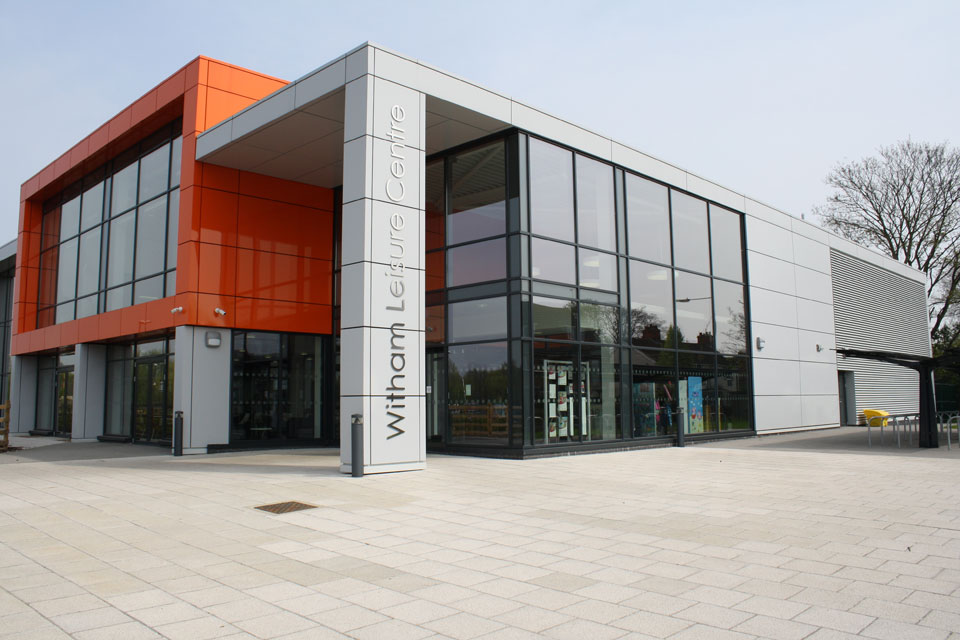 Witham Leisure Centre Entrance and Building Signage