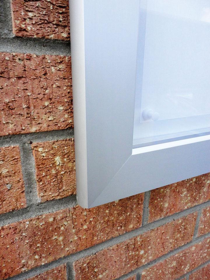 Notice Cases - Slimlok noticeboard (corner detail)